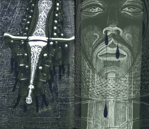 The supernatural elements in the story include a knight with a gigantic sword, and a statue which develops a portentous nosebleed. Illustrations by Charles Keeping from the 1976 Folio Society edition. (r PR3757.W2C2F76)