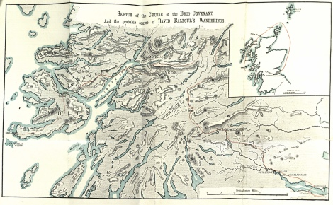 "The fold-out map of the ""cruise of the Brig Covenant and the probably course of David Balfour's wanderings"" from the first edition of Kidnapped (1886)"