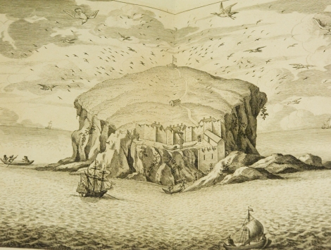 A depiction of the Bass Rock from John Slezer's Theatrum Scotiae (1718), showing the old castle, chapel, and probable landings as David Balfour might have experienced.