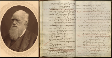 Left: Charles Darwin, woodburytype from Thompson Cooper, Men of Mark , 1878. rCT782-C7-vol-3-36 Right: Honorary members list in front of minute book, featuring 61 Charles Darwin esq., Secretary to the Geological Society of London, UYUY8525 p. 7r.