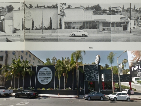 Unknown club and Comedy Store at 8430 Sunset Blvd, 1966 and 2014. Copyright Edward Ruscha (1966) and Google streetview (2014).