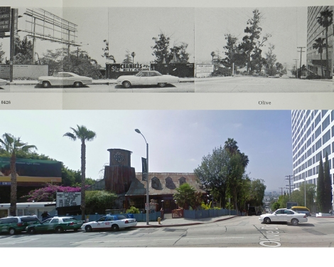 Empty lot and House of Blues at 8430 Sunset Blvd, 1966 and 2009. Copyright Edward Ruscha (1966) and Google streetview (2009).