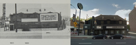 Largo, The Phone Booth and the Roxy Theatre at 9009 Sunset Blvd, 1966 and 2011. Copyright Edward Ruscha (1966) and Google streetview (2011).