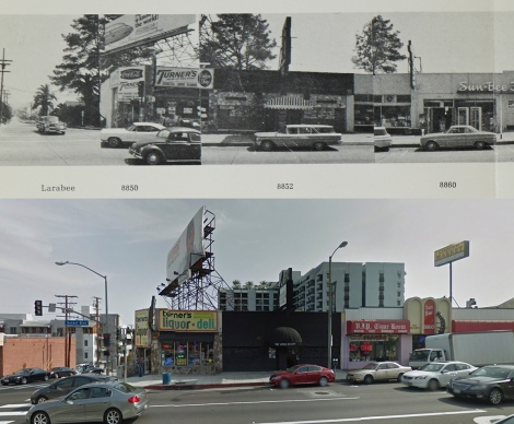 Melody Room and the Viper Room at 8852 Sunset Blvd, 1966 and 2011. Copyright Edward Ruscha (1966) and Google streetview (2011).