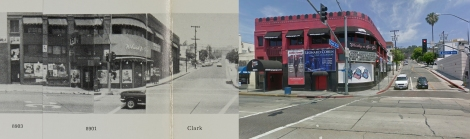 Whisky a Go Go at 8901 Sunset Blvd, 1966 and 2009. Copyright Edward Ruscha (1966) and Google streetview (2009).