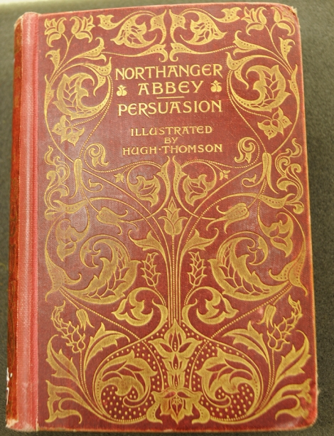Front cover of the 1897 edition of Northanger Abbey and Persuasion, featuring illustrations by Hugh Thomson.