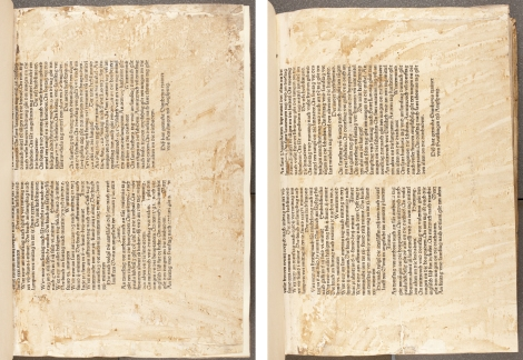 Two fragmentary lower-halves of a German language broadsheet almanac, printed in Augsburg in 1472 and preserved as binding waste in a contemporary binding on a copy of the 1474-76 printing of Gregory I's Epistolae