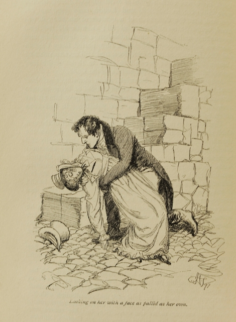 Miss Musgrove down for the count, after tossing herself off of some steps. From the 1897 illustrated edition of Persuasion.
