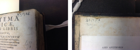 Two marks of provenance leading to the identification that this book was also in the collection of Mark Pattison, dean of St Paul's: a pressmark (left) and a record of price paid at the sale of his library (right)