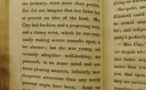 Some biting commentary on the appearance of Sir Walter Elliot's 'companion', Mrs Clay. From St Andrews' copy of the first edition of Persuasion.