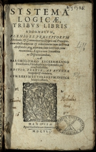 Title page of Keckermann's Systema Logicae (1606), with various marks of provenance