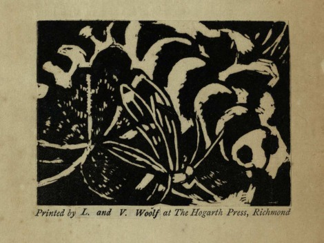 One of the two woodcuts by Vanessa Bell for the first edition of Kew Gardens