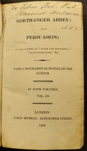 Title page of the first edition of Persuasion, published jointly as volumes 3 & 4 with Northanger Abbey.