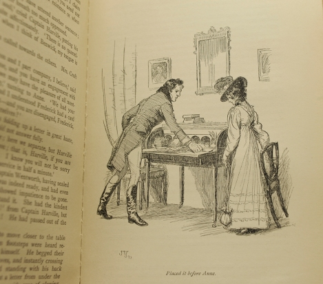 Captain Wentworth expresses his fullest emotions to Anne Elliot … with a note. From the 1897 illustrated edition of Persuasion.