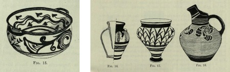 Examples of some of the Mycenaean ware found at Zakro, on the east coast of Crete, in excavations carried out in 1902. From R. M. Dawkins' (1871-1955) article 'Pottery from Zakro', published in The Journal of Hellenic Studies (vol. 23, 1903).