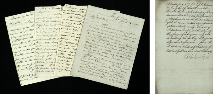 Left: Duncan was discussed in correspondence with Lord Dundas, the Chancellor of the University, and was a candidate for the chair of Natural Philosophy earlier in 1820. Right: Certification that Duncan had sworn the customary oaths of allegiance, abjuration and assurance before being admitted to the office of Professor of Mathematics, 1820 (UYUY235/1/2).