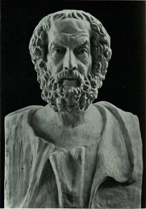 One of the many busts of Homer found in Der lebendige Homer. The Shewan Collection consists of works bound into 250 volumes, all dealing with Homeric scholarship.