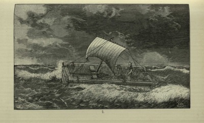 One of the plates from Die Nautic der Alten by Arthur Breusing, showing an example of an ancient ship. Breusing was a navigation instructor at the 'Steuermannschule' [Helmsman School]in Bremen.