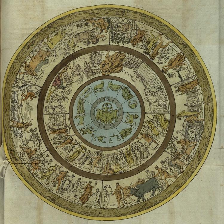 A depiction of the shield of Achilles, based upon Homer's description. From M. Quatremère de Quincy's (1755-1849) Mémoire sur la description du bouclier d'Achille par Homère.