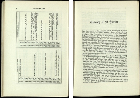 Calendar 1865/66. Left: True calendar – list of significant dates. Right: Summary history of the University.