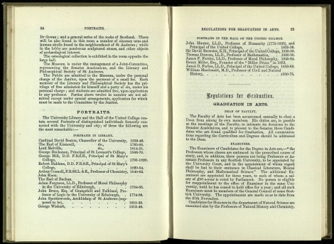1885/6 Lists of significant items held in the University – here list of the most remarkable portraits of those distinguished individuals formerly connected with the University.