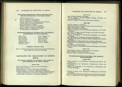 1893/4 List of graduates showing here first woman to pass for the MA under new regulations – Agnes F Blackadder