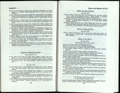 1978/9. Lists of degree results – and in the good old days the class of degree was publicly announced.