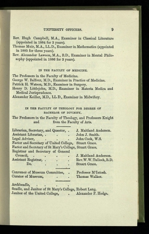 Page from 1887/8 calendar showing list of University officers including Archbeadle, Beadle and Janitor of St Mary's College.