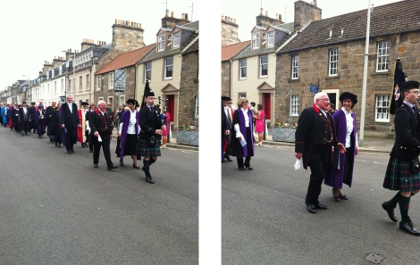 It was raining after the final graduation ceremony in June so John left the silver-gilt mace in the safe-keeping of his team and was invited by the Principal to walk beside her to lead the procession from the Younger Hall to the quad; a fitting acknowledgement of his service to the University. Image: R Hart.