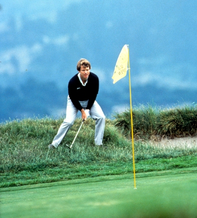 The moment that the ball drops into the hole for Tom Watson on the 17th at Pebble Beach during the 1982 US Open (Photograph © Lawrence Levy Photographic Collection. All rights reserved. Image courtesy of the University of St Andrews Library, [2008-1-12529]).