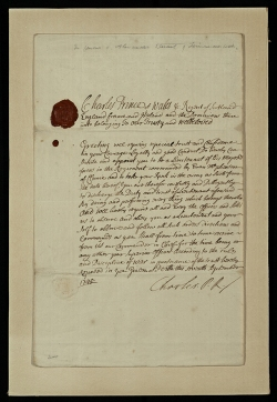 Commission of Prince Charles Edward Stuart to an unknown recipient to be a lieutenant in the regiment commanded by Euan McPherson of Clunie, Invernesshire, 7 September 1745 (msDA814.A5S8 [ms700]).