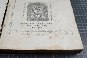 The presentation inscription of George Buchanan on TypFL.B47GS.