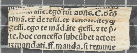 One of two printed waste fragments found as spine-guards on TypFL.B47GS; now identified as fragment of leaf Z8 from vol. 1 of the 1499 Venice printing of Guillaume Durand's Speculum iudicale.