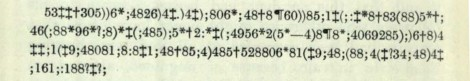 William Legrand's cipher. Excerpt from page 134 of Tales of Romance and Fantasy (s PS 2612.T2R7).