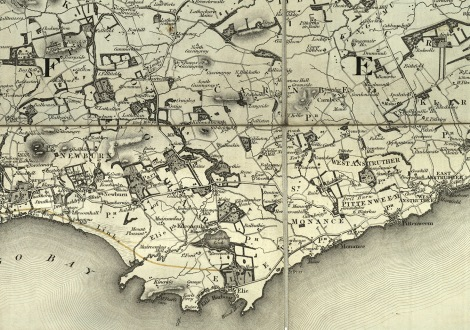 Detail around Kellie Law and estates in the East Neuk, from Counties of Fife and Kinross by Thomas Sharp, Christopher Greenwood and William Fowler of London, showing parishes and houses of Nobility, Gentry and Clergy, 1826, (msdep121/8/2/3/8/3).