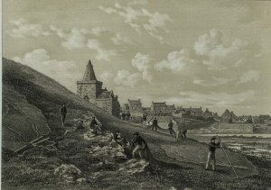 Engraving of St Monans Church from The Kingdom of Fife by Thomas Rodger, c.1860, rf DA880.F4R7