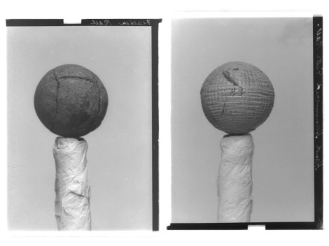 Left: Gelatin dry plate negative (glass plate) of a feather golf ball, by John Fairweather, 1900 (GMC-F-213). Right: Gelatin dry plate negative of a hand hammered guttie golf ball, by John Fairweather, 1900 (GMC-F-210).