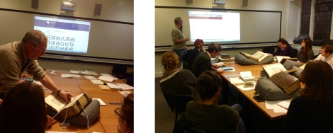 Dr Eisermann helping the workshop attendees in typography measuring (left) and understanding GW catalogue records.