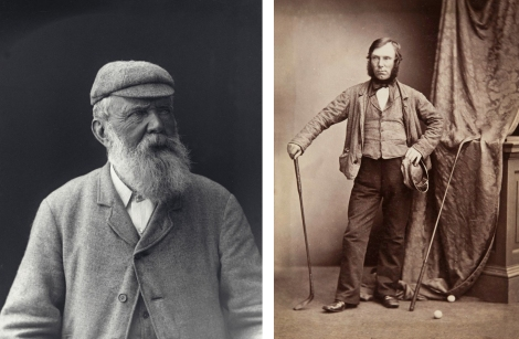 Left: Gelatin dry plate negative (glass plate) of Old Tom Morris, by George M. Cowie, 1900 (GMC-F-182). Right: Print of Allan Robertson, by Thomas Rodger, 1850 (ALB-10-49).