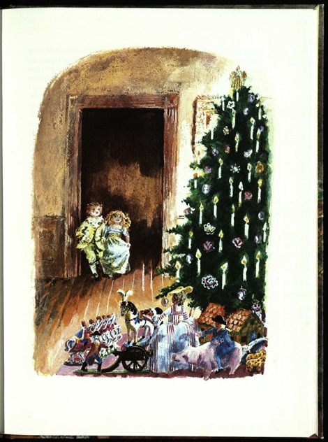The children see the tree and their presents for the first time. Dumas explains how it is the custom in Germany to give presents on Christmas Eve, and that it is done in a special way, with a tree being placed on a table, with lighter toys hanging from its branches and the heavier presents positioned around it; although, in this illustration the tree is on the floor with the presents around it. St Andrews copy r PQ2227.H6M8.