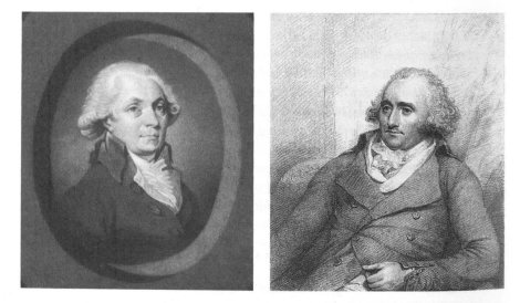 The printer William Strahan (left) and bookseller Thomas Cadell (right), whose publishing partnership dominated the London scene from the late 1760s to 1785. British Library Add. MS 38730, fol. 180v, and Providence Public Library, both reproduced in Sher, The Enlightenment & the book, p. 328.