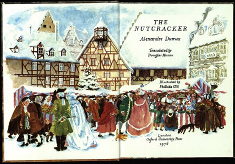 The title page of The Nutcracker, depicting a traditional Christmas market scene. Perhaps those are nutcrackers for sale on the stall with the children gathered round….
