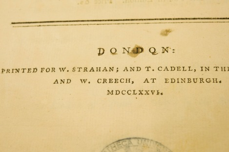 """A close-up of the imprint including """"and W. Creech at Edinburgh"""". St Andrews copy rf HB251.S6 (SR)"""