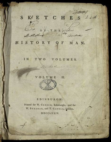Title page of vol. 2 of Lord Kames' Sketches of the history of man, one of the works co-published by Creech, Strahan, and Cadell, here with Creech's name given prominence in the imprint. St Andrews copy Typ BE.D74CH.