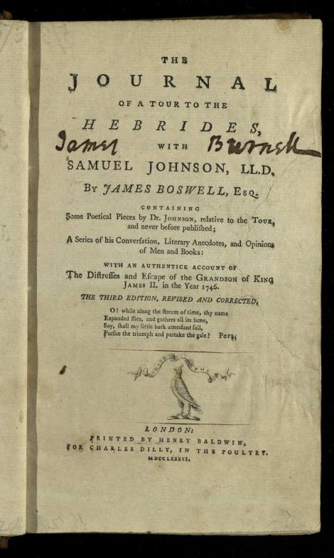 Title page of the third edition (1786) of James Boswell's The journal of a tour to the Hebrides, with Samuel Johnson, LL.D again published by C. Dilly. Was W. Creech a silent partner is this too? St Andrews copy Fle PR3325.H4D86 (SR).