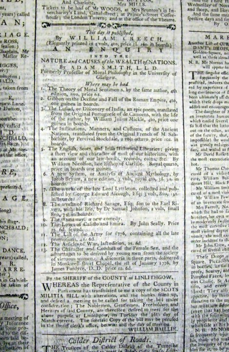 Creech's advertisement in the Edinburgh Evening Courant, 20 March 1776, for the first edition of Smith's Wealth of Nations. Image courtesy of the National Library of Scotland, with special thanks to Graham Hogg, Curator, Rare Books, Maps & Music Collections.