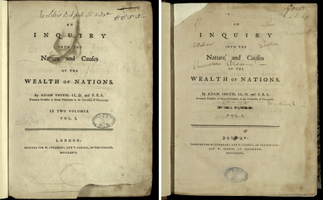 "The title page of the first edition of Adam Smith's Wealth of Nations, that on the right having in the imprint ""and W. Creech at Edinburgh"". St Andrews copies rf HB251.S6 (SR) (set 2) and rf HB251.S6 (SR)."
