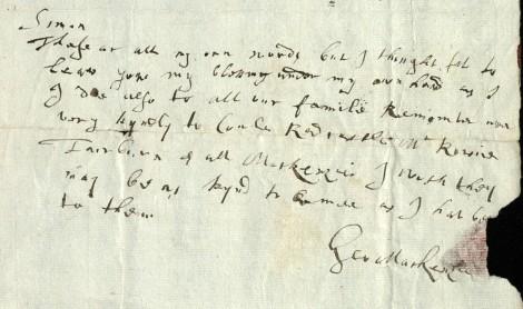 George's last letter to Simon, 4 April 1691 (msdep75/3/3/21).