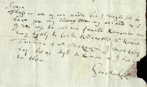 George's last letter to Simon, 4 April 1691 (msdep75/3/3/21).
