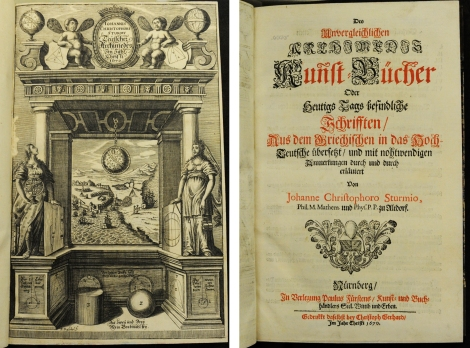 The two title pages of the 1670 Des unvergleichlichen Archimedis Kuñst-Bücher from the Mackay Collection